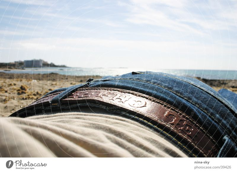 jeans beach Beach Ocean Clouds Vacation & Travel Belt Europe Sky Sun Jeans Blue Lie