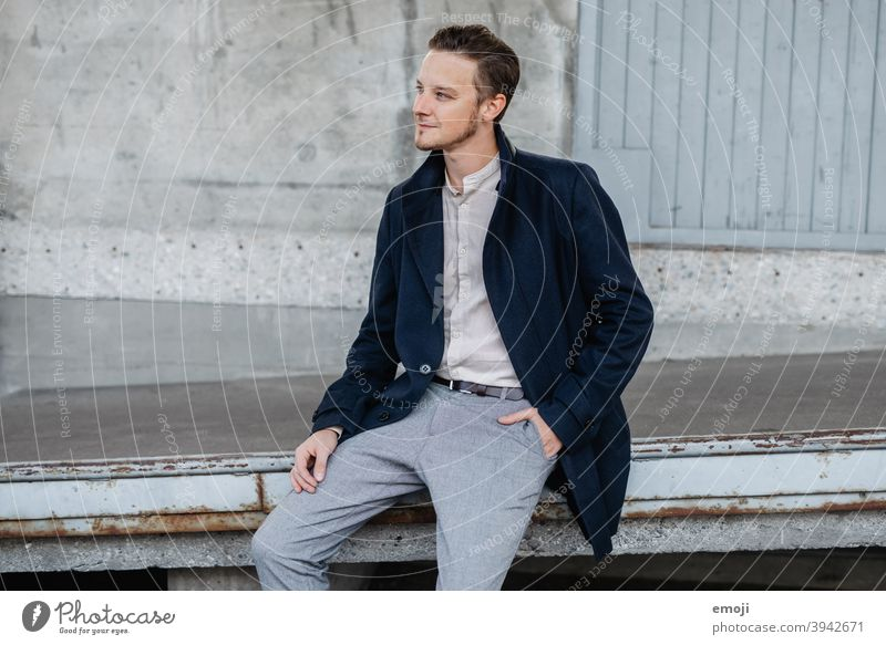 young man, business, outdoor, sitting masculine more adult Upper body arms folded Young man Man Friendliness Smiling Business Businessman fortunate Happiness