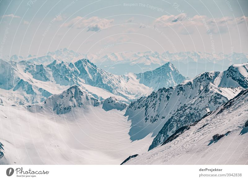 Snowy landscape in the Stubaital with distant view II Winter's day Snowscape Deep depth of field Contrast Shadow Light Day Copy Space top Structures and shapes