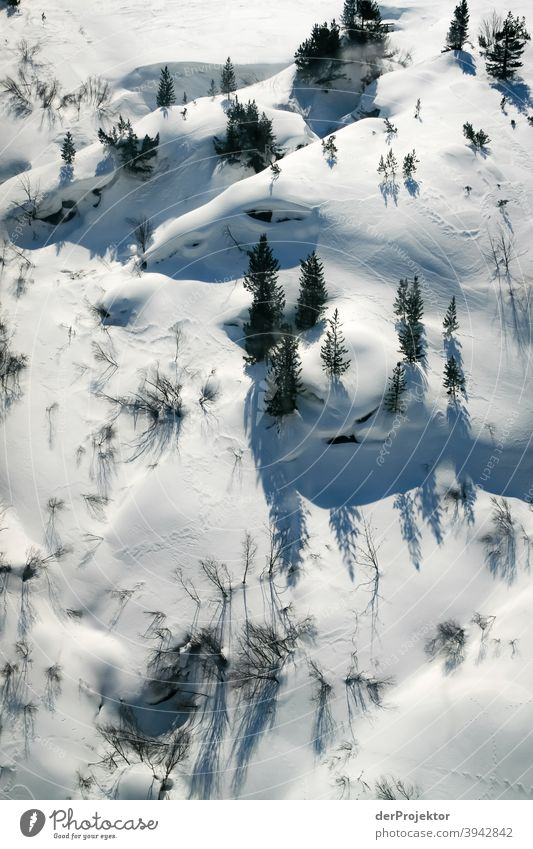 Snowy landscape in the Stubaital Winter's day Snowscape Deep depth of field Contrast Shadow Light Day Copy Space top Structures and shapes Pattern Abstract