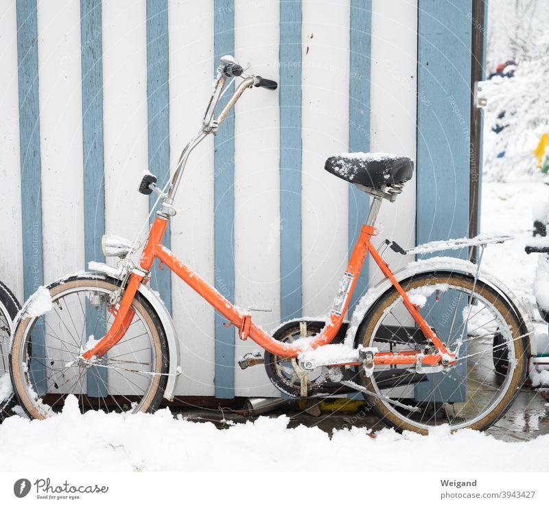 Folding bike in winter Bicycle Cycling Orange Winter Snow Cold Stripe Retro Retro Colours stylish Folding bicycle
