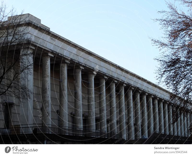 The Haus der Kunst in Munich on a winter day House (Residential Structure) columns Architecture Art house of art Building Exterior shot Deserted Colour photo