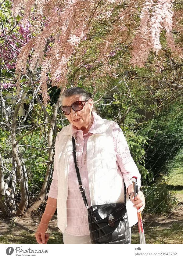 vernally Woman Human being Senior citizen 80+ stroll To go for a walk Sun sunshine Spring blossom flowering tree Pink Delicate daintily feminine Elegant Lady
