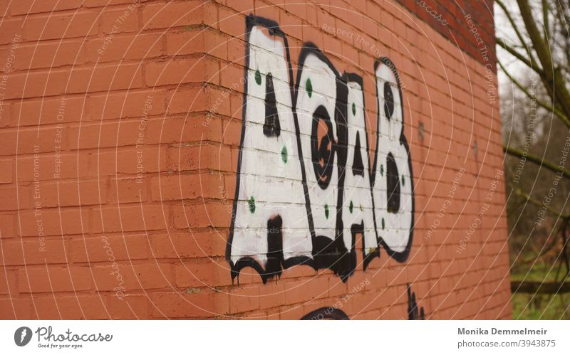 A.C.A.B. acab Police Force Colour photo Signs and labeling Exterior shot Wall (barrier) Graffiti Building lettering Facade Wall (building) Characters