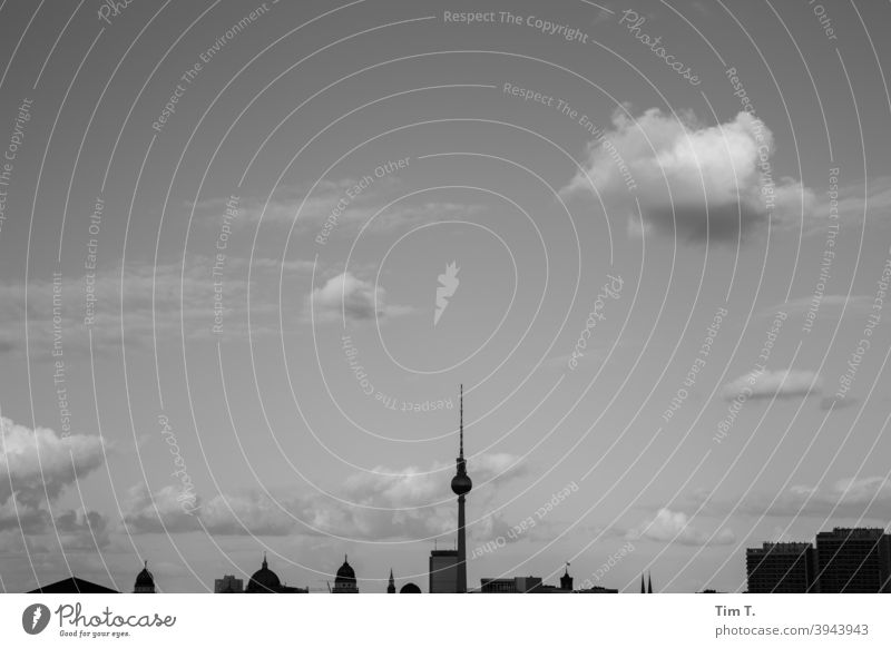 the skyline Berlin with clouds b/w B/W Sky Clouds Television tower Silhouette Black & white photo B&W Architecture Town Exterior shot Building Skyline Day