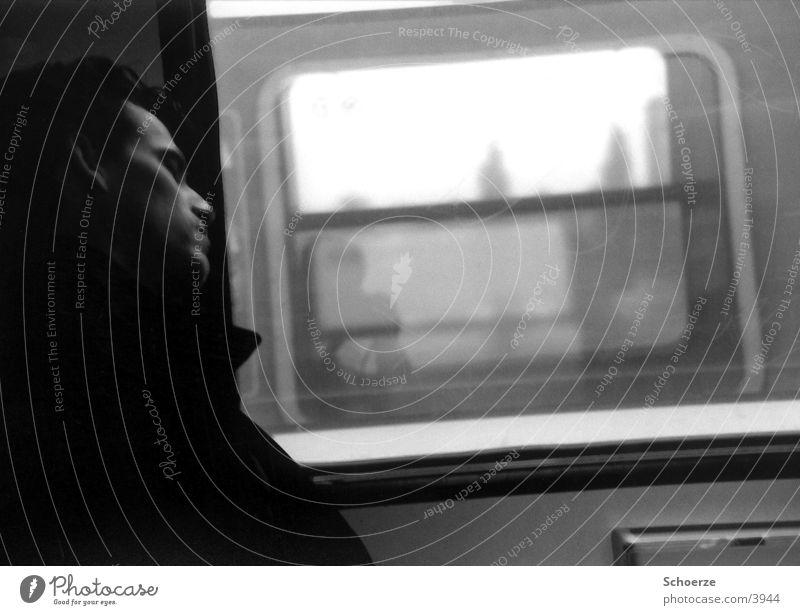 S-Bahn Sleeper Man Long exposure Railroad Vacation & Travel Black & white photo Movement