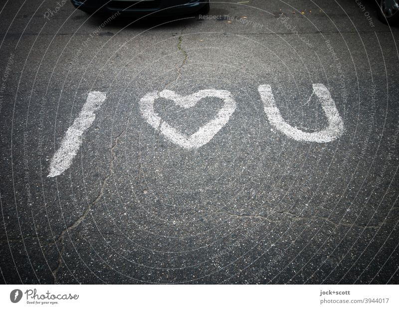 Expression of love Short and sweet i love you English Asphalt Parking lot Street art Infatuation Characters Declaration of love With love Gray Heart (symbol)