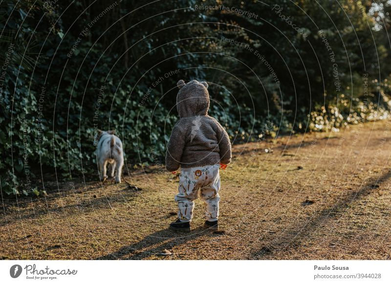 Toddler looking at dog at the park toddlerhood Dog Pet Together Animal portrait Nature Human being Colour photo pet Cute 1 Exterior shot Authentic Happy Puppy