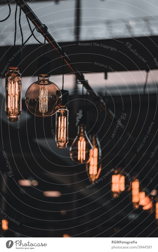 modern light bulbs in a row in a loft Architecture Electric bulb light sources Light New Design new interior Loft Flat (apartment) instagram Style