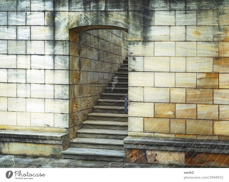 Catchy staircase Entrance door Stairs Wall (barrier) stones Long shot Cornice Wall (building) Colour photo Deserted Exterior shot Architecture Old Stone