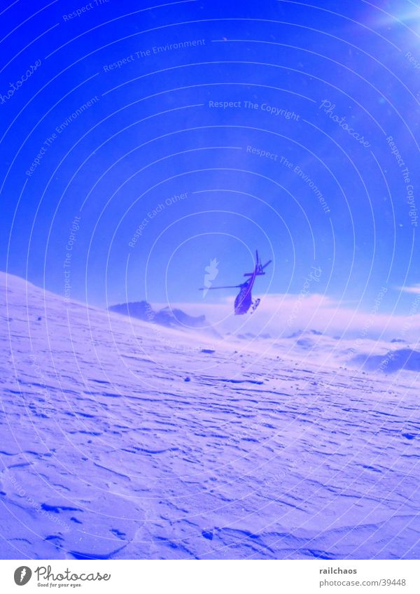 Mountain Snow Beautiful weather Glacier Snowscape Blue sky Helicopter Snow layer Winter sun