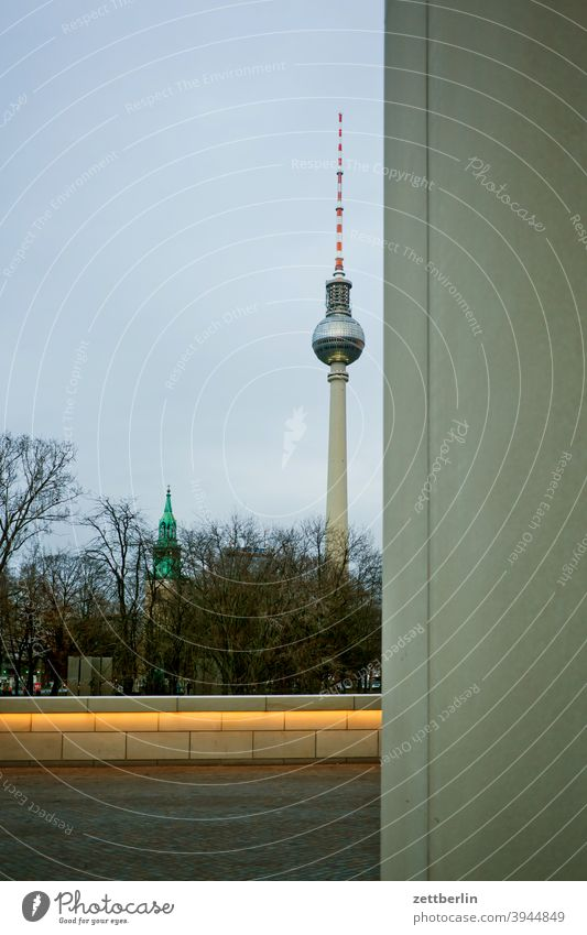 Berlin television tower behind the Berlin castle alex Alexanderplatz city Germany Television tower radio-and-ukw tower Capital city downtown Deserted