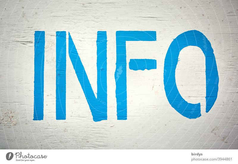 INFO, blue capital letters on white wooden board. Information, individual notice, format filling info full-frame image Blue-white Characters Word Heading