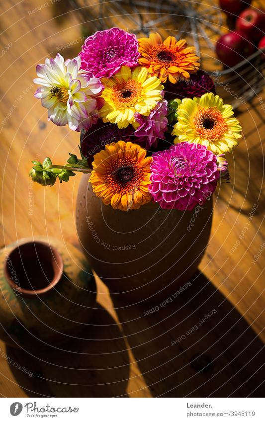 Autumn flowers on table Table Bouquet Summer late summer Garden Decoration Wooden table top Flower Vase Autumnal autumn mood Early fall