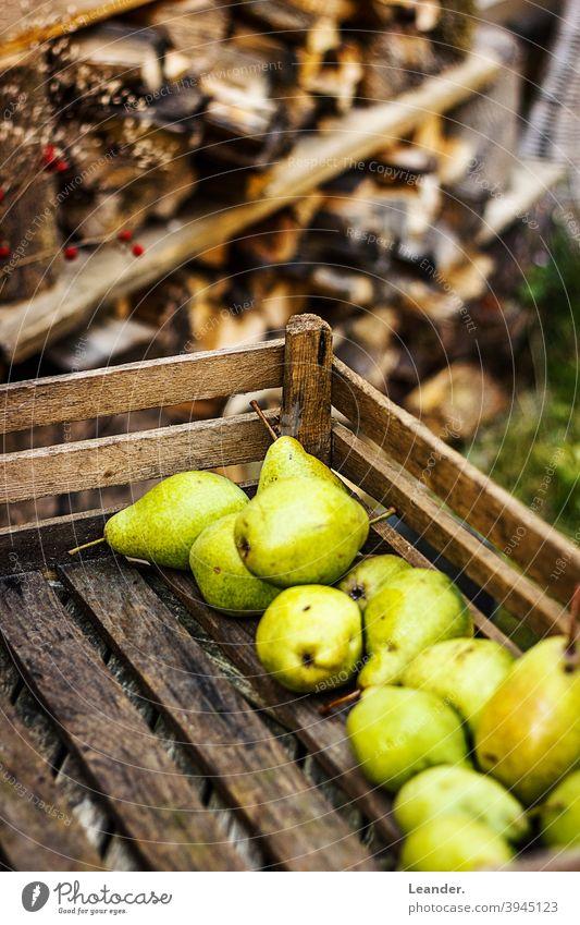 Pears in autumn pears Autumn Fruit basket Basket Autumnal Eating regionally Farmer's market Decoration Nature Organic produce takeaway food