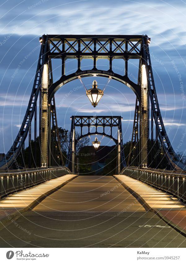 Kaiser-Wilhelm-Bridge the landmark of Wilhelmshaven, Germany, at blue hour Wilhlemshaven Kaiser Wilhelm Bridge swing bridge Steel Landmark Tourism