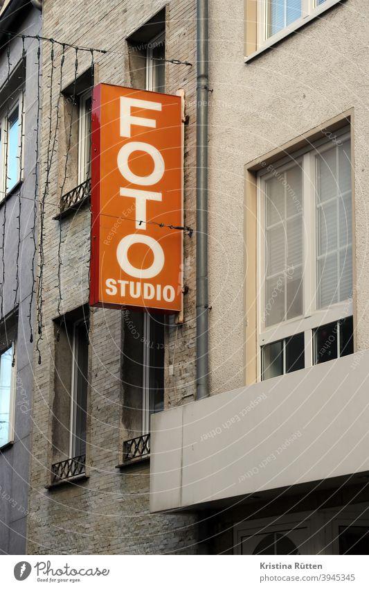 photo studio illuminated advertising sign neon sign illuminated sign Neon sign publicity Billboard Advertising typo typography business Load Retro vintage
