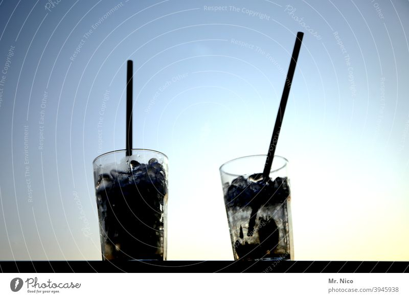 two long drinks with straw Longdrink Cocktail Beverage Glass Cold drink Alcoholic drinks Spirits Fresh Refreshment Drinking Bar Feasts & Celebrations Night life