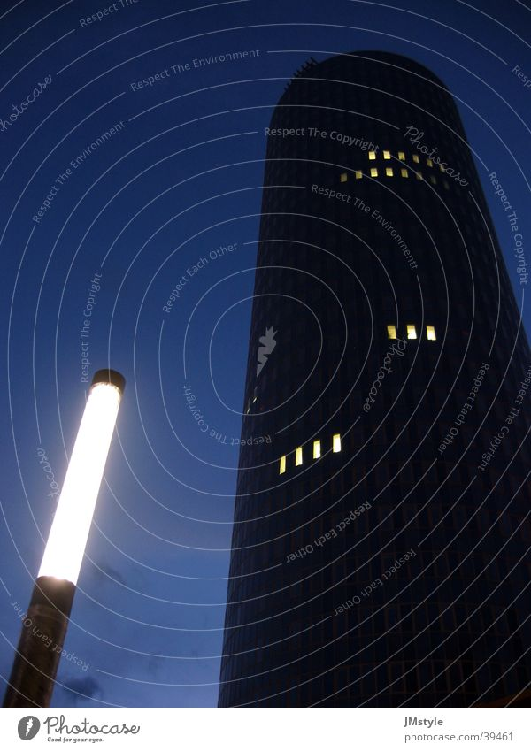 two-tower Lamp High-rise Night Intershop Street lighting Architecture Tower Intershop Tower Lighting Modern