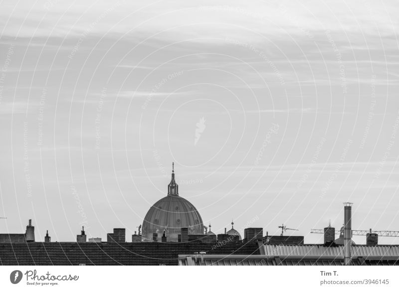 Skyline Berlin Cathedral Dome b/w Black & white photo Architecture Capital city Town Downtown Exterior shot Deserted Day Manmade structures Building Old town