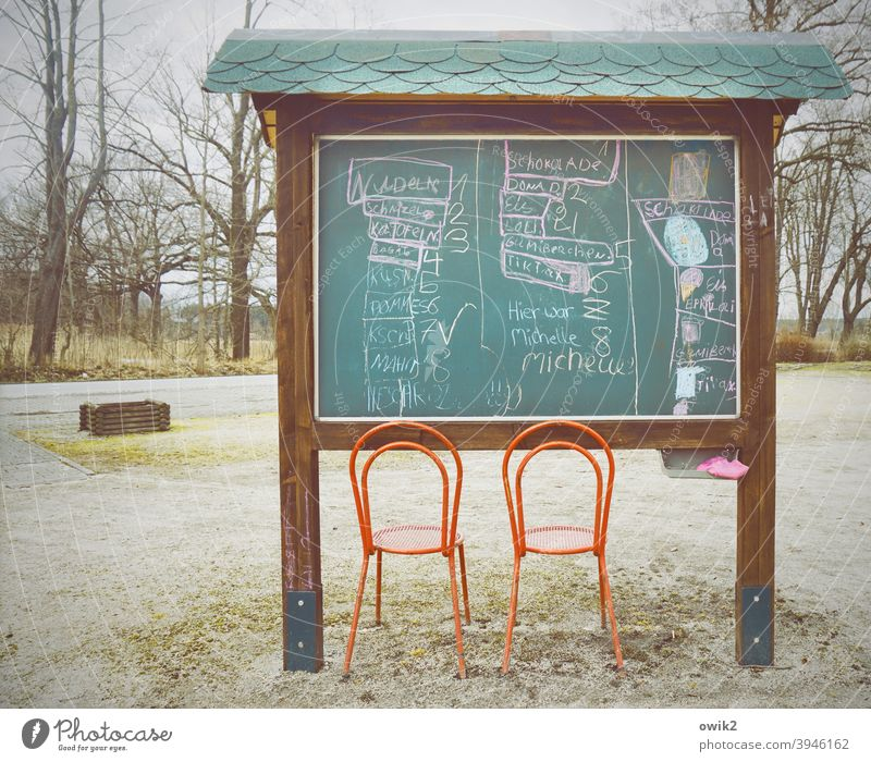 Village Cinema Whimsical info board chairs Near take a seat Simple Places trees Blackboard Drawings Letters (alphabet) cryptically puzzling Scene Seating Empty