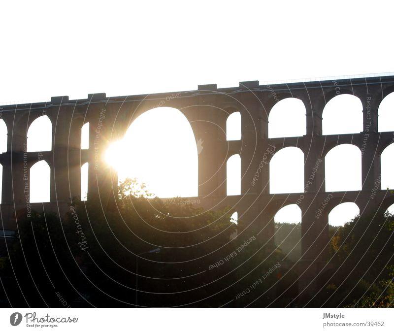 Göltzschtal Bridge Sunset Back-light Railway bridge Europe Architecture