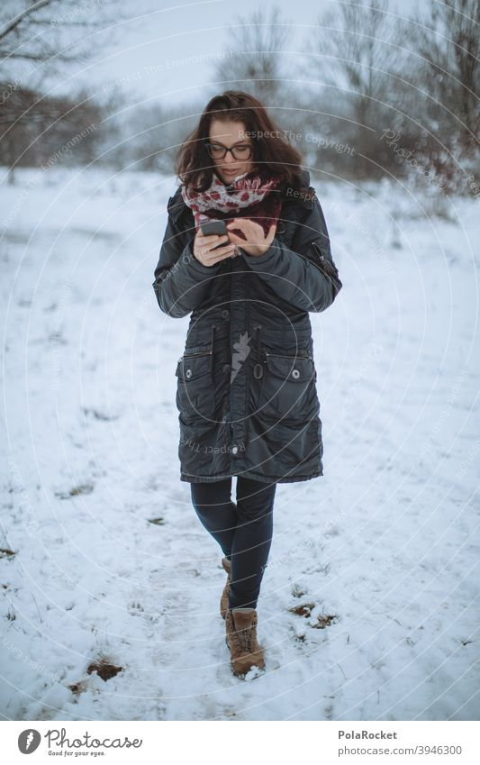 #A+# Woman in the winter only on the mobile phone. The main thing WIFI. Walking Winter Winter vacation Winter mood Winter's day Winter forest Winter walk
