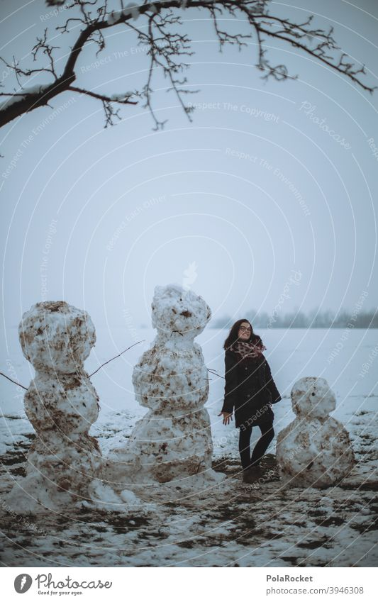 #A+# Snowman family make a snowman Winter Winter walk Cold Exterior shot White Joy Playing Seasons