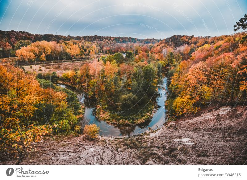 Panoramic view of autumn colors and a river Autumn fall Autumnal colours Autumn leaves Exterior shot Autumnal weather Early fall Autumnal landscape Leaf