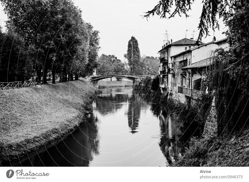 river with bridge italy water veneto vicenza bacchiglione italian city nature travel outdoor fiume green sky landscape tree blue europe grass trees background