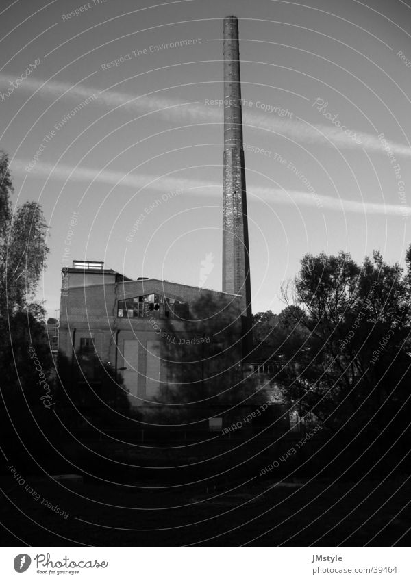 old factory Building Industrial site Derelict Industry Old Chimney Fabrous Black & white photo