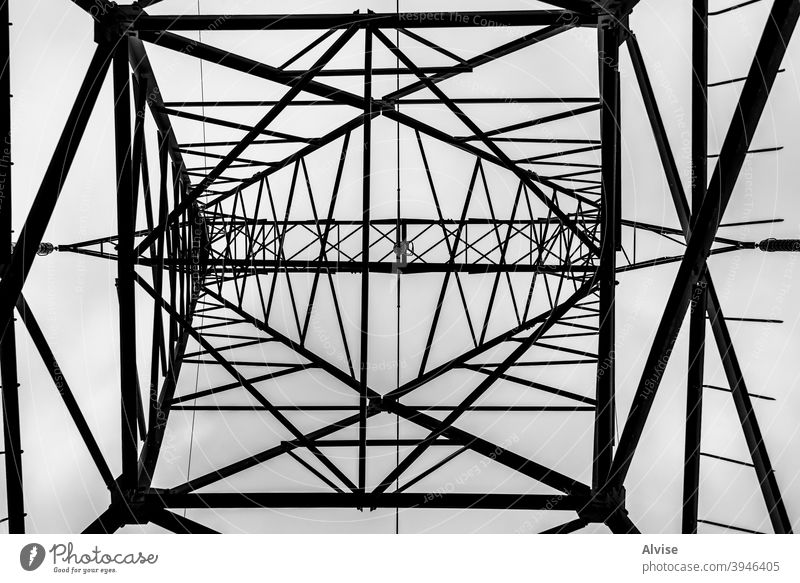 suspended geometries pylon high voltage metal tower energy transmission electricity industry sky geometry engineering electrical technology line power cable