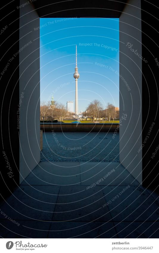 St. Mary's Church and TV Tower, seen from the Berlin Palace alex Alexanderplatz Architecture berlin castle Office city Germany Television tower Worm's-eye view
