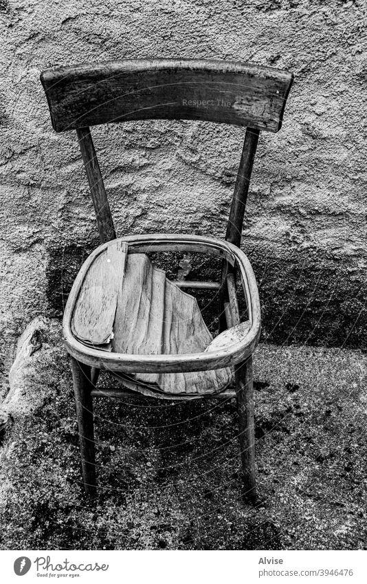wooden chair old abandoned broken background building interior furniture architecture down nobody empty room object vintage crack leg damaged concept bankrupt
