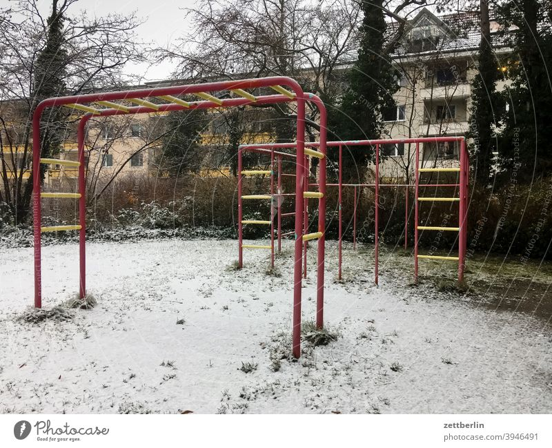 Playground in the Lockdown Cold Virgin snow Snow Snow layer Town urban Suburb Winter winter Empty Deserted Climbing climbing scaffold Ladder sprout rungs dwell
