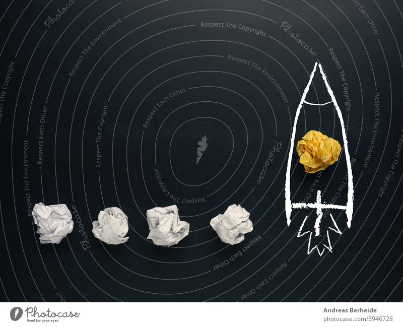 Launching rocket , creativity concept or new ideas metaphor ambition background ball begin blackboard blue brainstorming business chalkboard creative