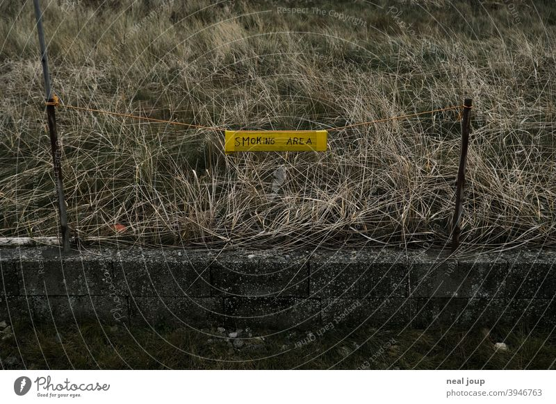 """Handwritten sign """"Smoking Area"""" at the roadside Clue smoking Signage Exterior shot Characters Handwriting Addiction range Places Gloomy Grass Wall (barrier)"""