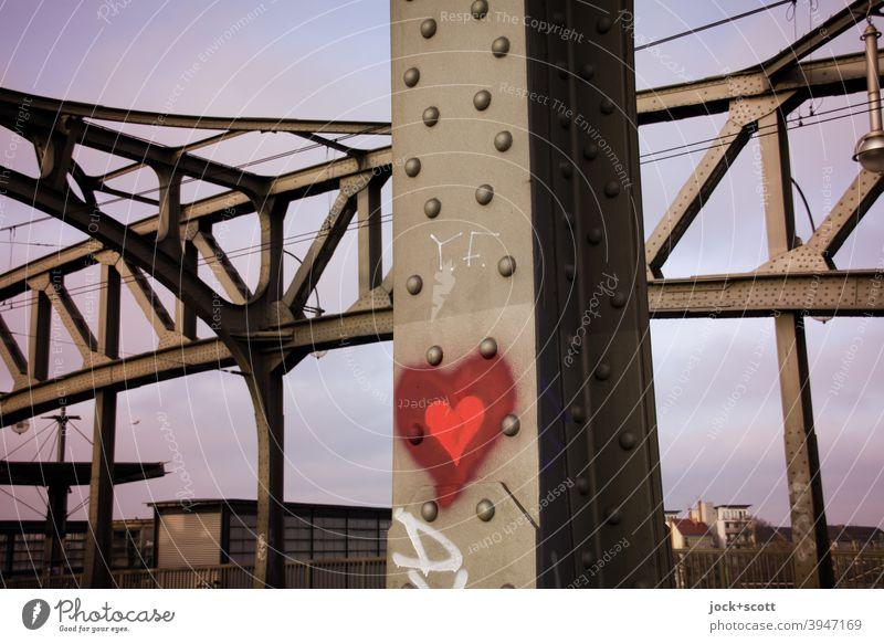 Love at the Bösebrücke Arched bridge Bridge Bornholm Street Architecture Bornholmer Strasse train station Berlin-Wedding Sky Heart (symbol) Monument Stud