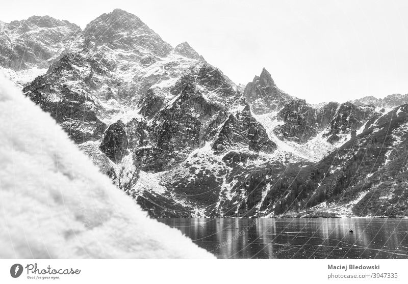 Black and white picture of Tatra Mountains in winter, Poland. mountains landscape beautiful snow Morskie Oko black and white lake Eye of the Sea ice Tatry