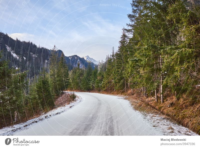 Road to Morskie Oko in Tatra National Park, Poland. winter landscape beautiful road forest snow mountains Tatry cold wilderness sun sky outdoor nature season