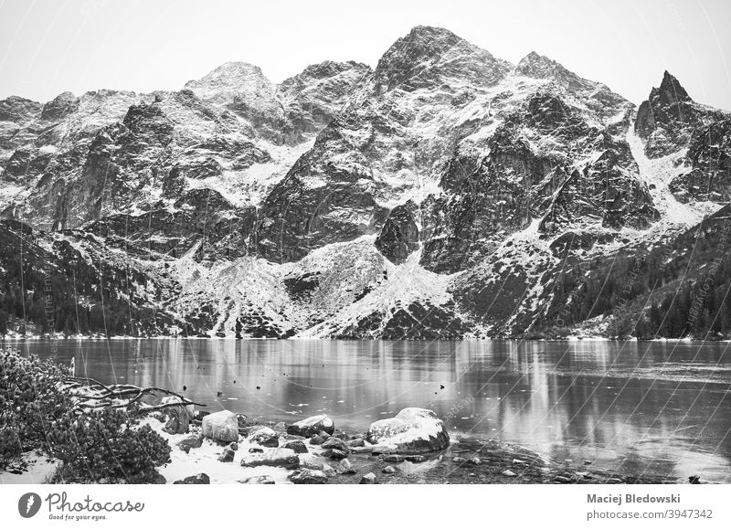 Black and white picture of frozen mountain lake. winter mountains landscape beautiful snow Morskie Oko black and white Eye of the Sea Tatra ice Tatry