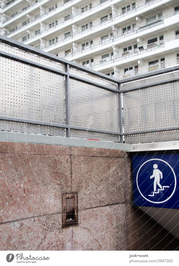 Underpass for pedestrians in the middle of Berlin GDR Stairs Facade Pedestrian Signage Pictogram Authentic Retro Arrangement Downtown Style Illustration