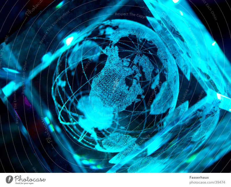 light world Globe Light Moody Future Science & Research Laser Transparent Internet Earth Modern globalization Crystal structure cristal Universe Technology bit