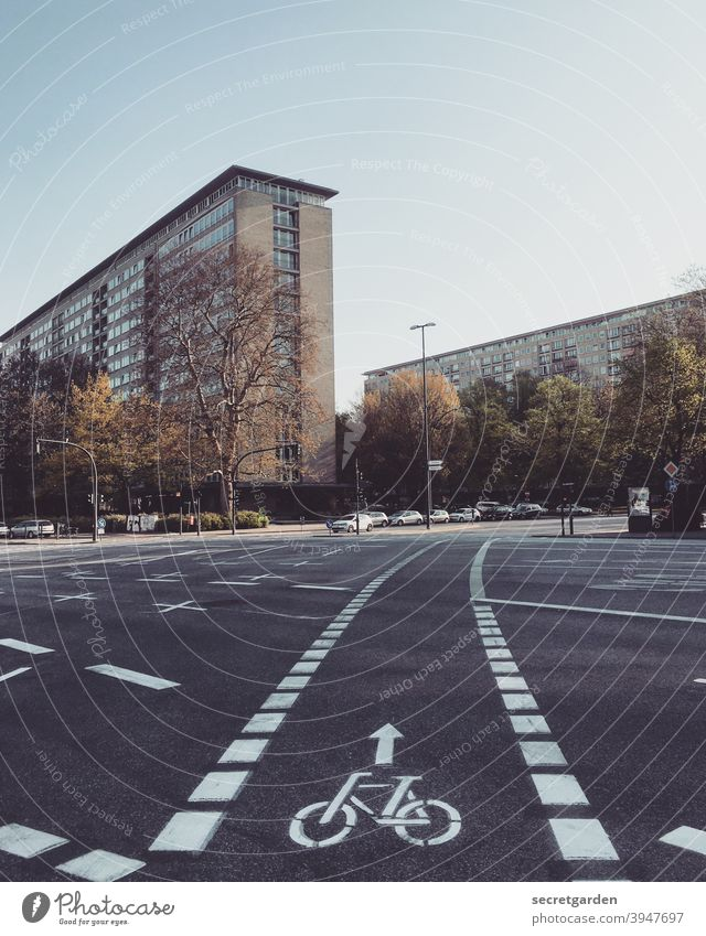 It goes straight ahead into a slight curve. Hamburg Grindel Quarter Cycle path Bicycle Cycling Mobility mobility turnaround Street Road traffic Transport