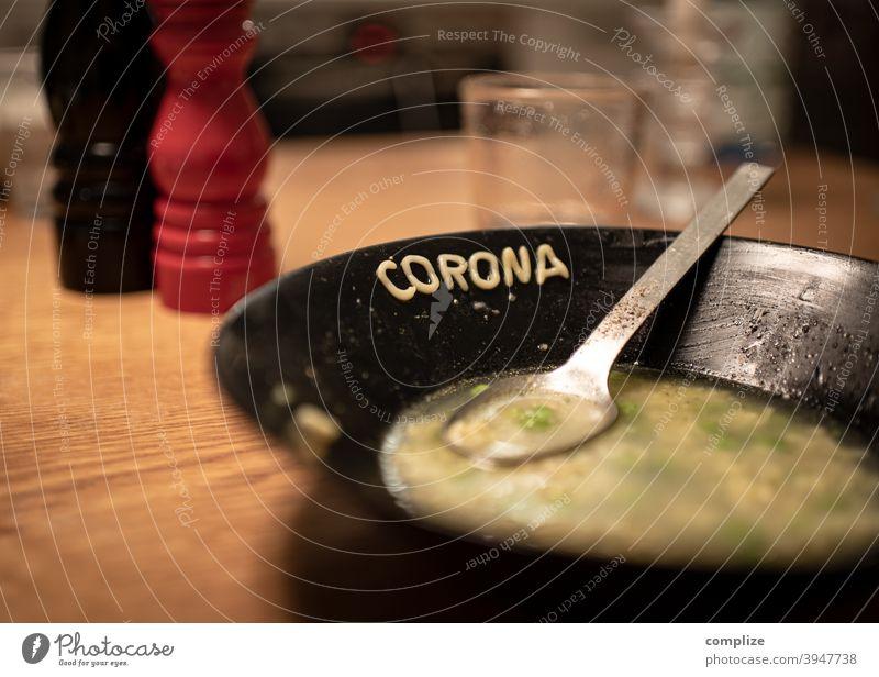 Spit in the soup - Corona alphabet soup coronavirus Corona virus Soup Eating Restaurant Cooking Soup plate Alphabet soup Alphabet noodles Table Gastronomy