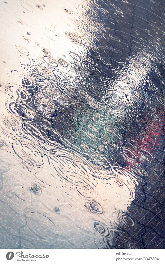 Rain Symphony Rainy weather Puddle Rings circles Wet Water Autumn Reflection Bad weather Weather Street reflection Drops of water Dreamily Aesthetics off