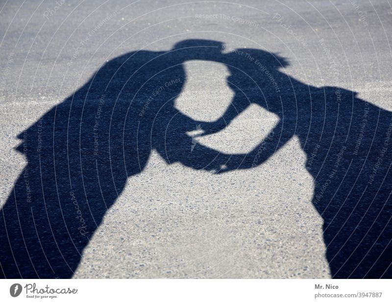 Kiss me , Kate Touch Kissing Love Silhouette Shadow farewell kiss Lovers Goodbye Shadow play Love affair Couple Passion Longing Lanes & trails Relationship