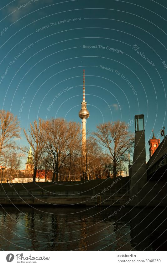 Marienkirche, TV Tower, City Hall Bridge and Red City Hall in Berlin alex Alexanderplatz Architecture berlin castle Office city Germany Television tower