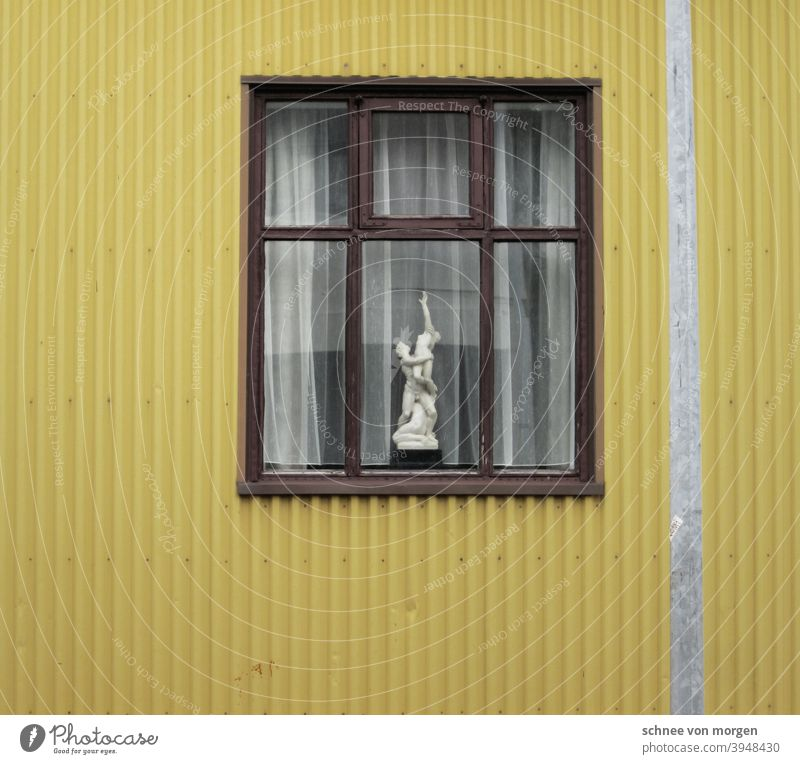 yellow is addictive Yellow House (Residential Structure) Iceland Window Corrugated sheet iron Vantage point Curtain Lantern Street Town Flat (apartment) dwell