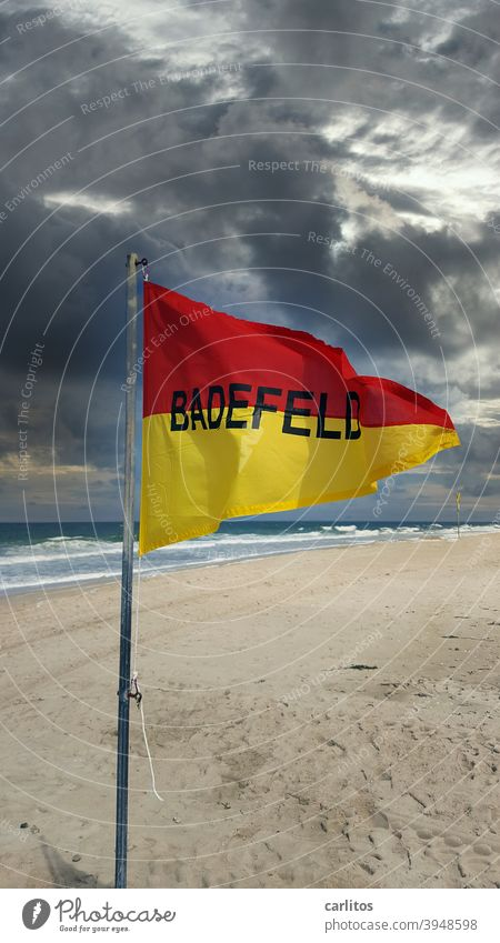 Mr. v. Bödefeld from Bielefeld is looking for the | BADEFELD Sylt Western Beach Westerland Stramd Bathing field flag Triangle Divided Red Yellow writing